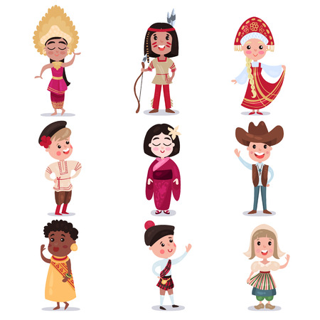 indian teenager: Kids in national costumes of different countries set, cute boys and girls in traditional clothes colorful vector Illustrations Illustration