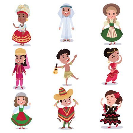 Kids in traditional clothes of different countries set, cute boys and girls in national costumes colorful vector Illustrations Çizim
