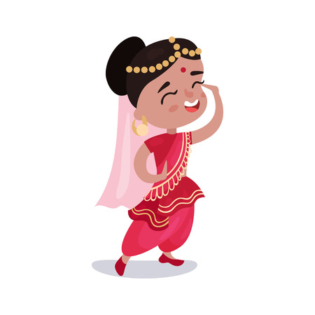 indian teenager: Little girl wearing sari dress national costume of India colorful vector Illustration