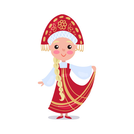 Little girl wearing red sarafan and kokoshnik, kid in national costume of Russia colorful vector Illustration
