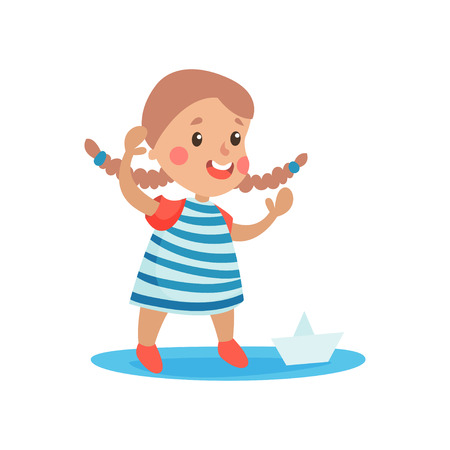 Cute little girl in sailors costume playing with paper boat, kid dreaming of becoming a sailor vector Illustration Illustration