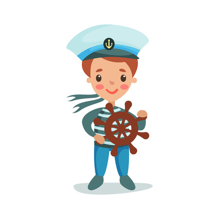little one: Cute little boy in sailors costume playing with wooden wheel, kid dreaming of becoming a sailor vector Illustration on a white background