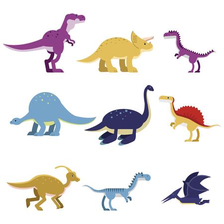 Cartoon dinosaur animals set, cute prehistoric and jurassic monster colorful vector Illustrations Ilustração