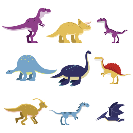 Cartoon dinosaur animals set, cute prehistoric and jurassic monster colorful vector Illustrations Vectores