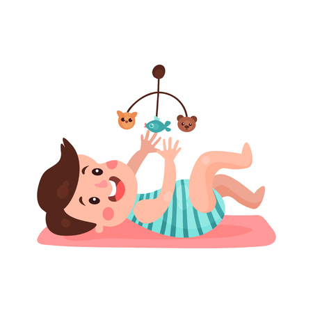 lying in bed: Cute little boy lying on his back playing with toy carousel cartoon vector Illustration
