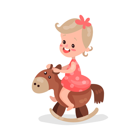 baby playing toy: Sweet little girl playing rocking horse cartoon vector Illustration Illustration