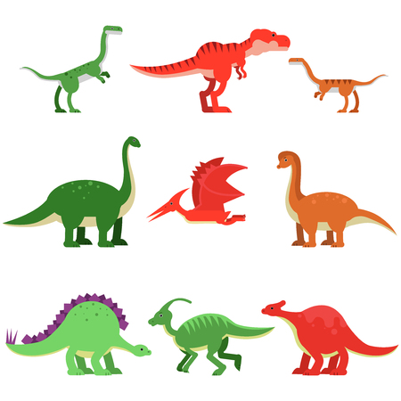 Cute cartoon dinosaur animals set, prehistoric and jurassic monster colorful vector Illustrations Иллюстрация