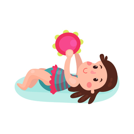 baby playing toy: Adorable brunette little girl lying on her back playing with tambourine toy cartoon vector Illustration