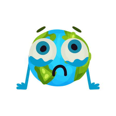 sea pollution: Cute cartoon unhappy Earth planet emoji, humanized globe character with emotions colorful vector Illustration Illustration