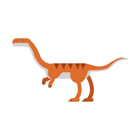 Cute cartoon coelophysis dinosaur, prehistoric and jurassic monster vector Illustration Illustration