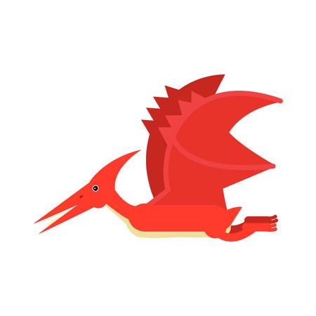 Cute cartoon red pterosaurs dinosaur, prehistoric and jurassic monster vector Illustration