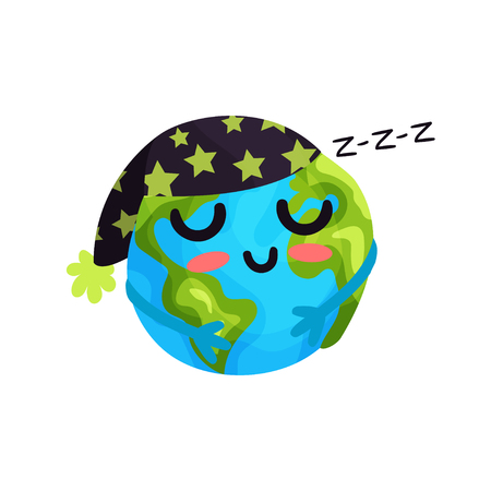 sea pollution: Cute cartoon sleeping Earth planet emoji, funny globe face colorful vector Illustration