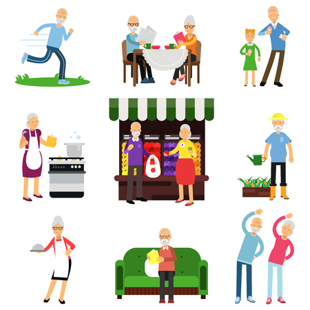Senior people activities set, elderly man and woman lifestyle colorful vector Illustrations on a white background