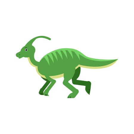 Cute cartoon green parasaurolof dinosaur, prehistoric and jurassic monster vector Illustration on a white background Illustration