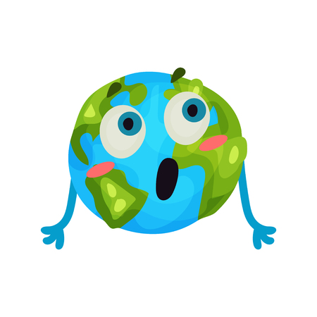 Cute cartoon surprised Earth planet emoji, funny humanized globe character with emotions colorful vector Illustration on a white background