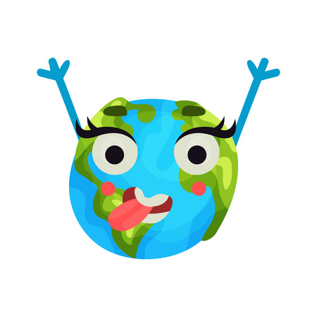 sea pollution: Cute cartoon happy Earth planet emoji raising hands, humanized globe character with emotions colorful vector Illustration on a white background Illustration