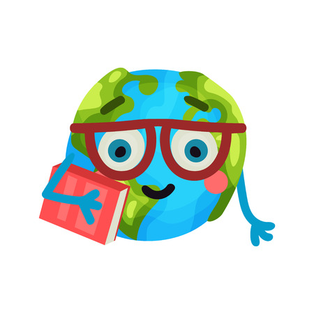 sea pollution: Smart cartoon funny Earth planet emoji wearing glasses holding a book, humanized globe character with emotions colorful vector Illustration on a white background Illustration