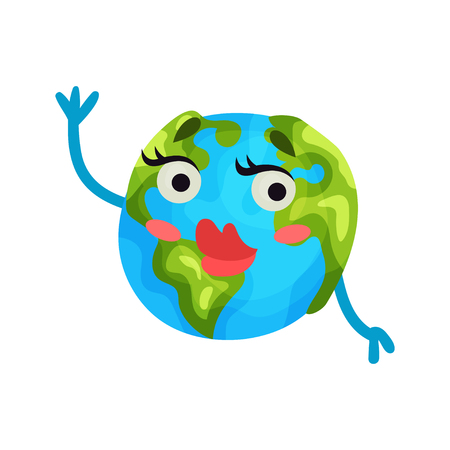 Cute cartoon flirty Earth planet emoji with red lips, humanized globe character with emotions colorful vector Illustration on a white background Ilustrace