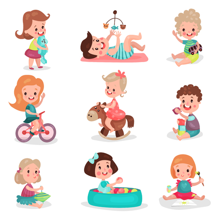 Happy kids playing with toys set, cute boys and girls enjoying playing colorful cartoon vector Illustrations Ilustração