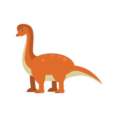 Cute cartoon brachiosaurus dinosaur, prehistoric and jurassic monster vector Illustration on a white background Illustration