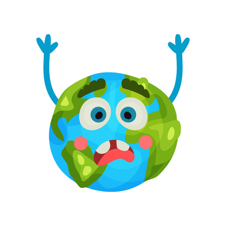 sea pollution: Cartoon frightened Earth planet emoji raising hands,, humanized globe character with emotions colorful vector Illustration
