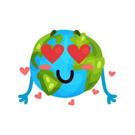 Cute cartoon funny Earth planet emoji in love, humanized globe character with emotions colorful vector Illustration