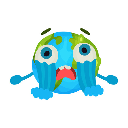 Cute cartoon unhappy Earth planet emoji crying, humanized globe character with emotions colorful vector Illustration