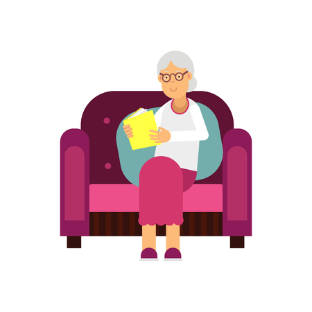 Senior woman character sitting on the sofa and reading a book