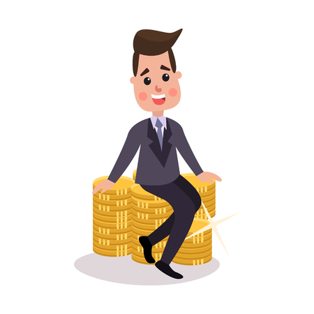Happy millionaire character sitting on a pile of gold coins