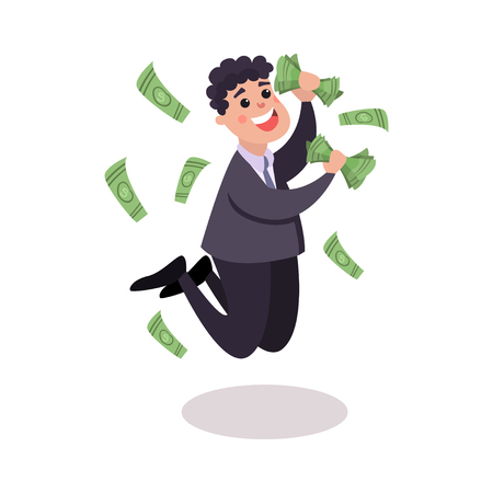 Happy businessman character jumping under money rain colorful vector Illustration on a white background