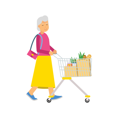 mujer en el supermercado: Senior woman character walking with shopping cart colorful vector Illustration Foto de archivo