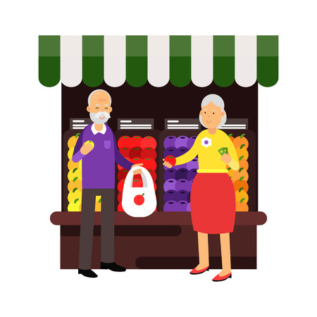 pareja comiendo: Senior couple characters buying fresh fruits at fruit market, healthy lifestyle colorful character vector Illustration