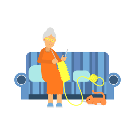 gray cat: Beautiful senior woman character sitting on the sofa and knitting colorful vector Illustration on a white background