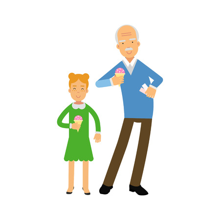 pareja comiendo: Grandfather and granddaughter characters eating ice cream together colorful vector Illustration on a white background Vectores