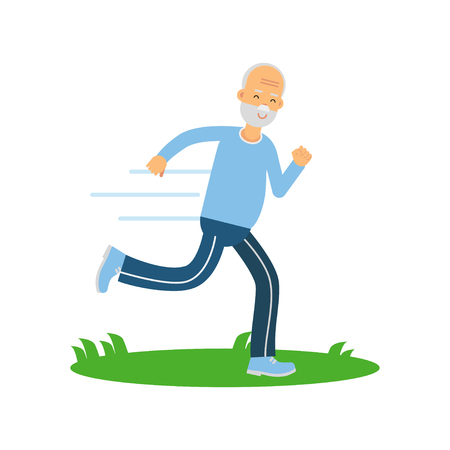 Active senior runner man character doing exercise to stay healthy, healthy active lifestyle colorful characters vector Illustration
