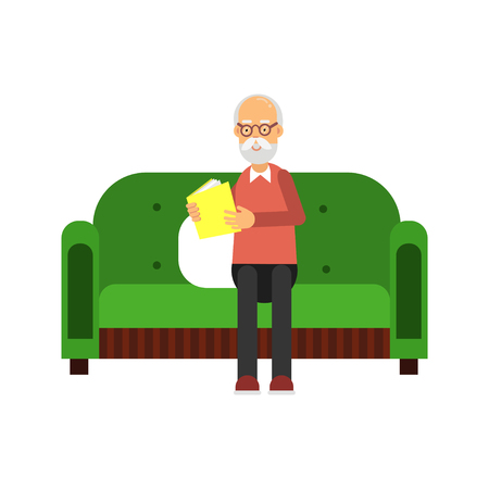 Senior man character sitting on green sofa and reading a book colorful vector Illustration