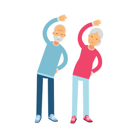 Senior couple characters doing exercises, physical activity benefits for older adults colorful vector Illustration