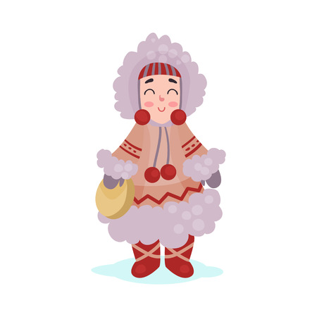 fur hood: Eskimos woman character dressed in national costume colorful vector Illustration