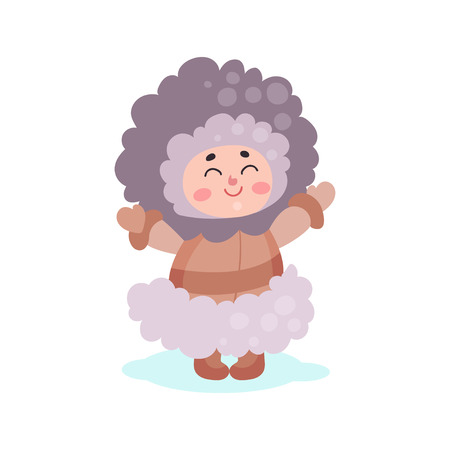 Eskimos girl character dressed in national costume colorful vector Illustration Illustration