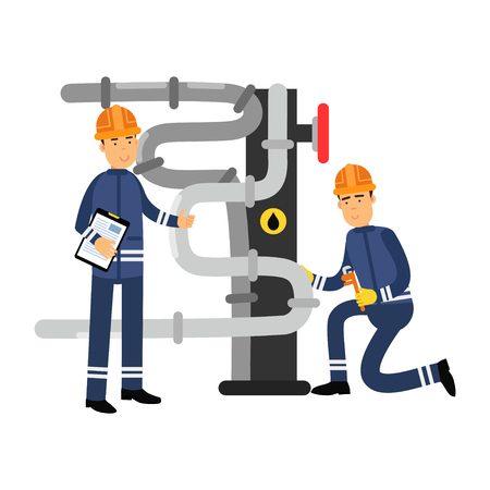 Oilmen characters working on an oil pipeline, oil industry production.