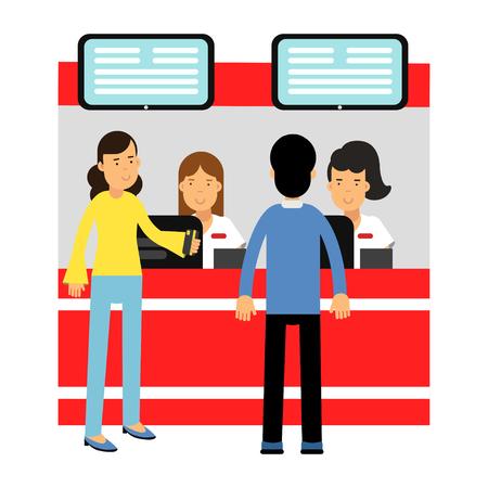 Mensen kopen kaartjes tegen de toonbank in de bioscoop vector illustratie