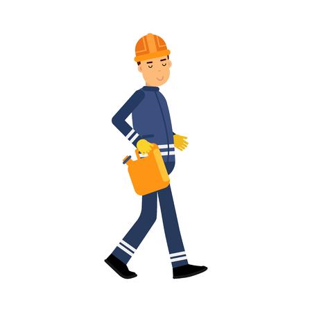 Oilman Charakter in einer blauen Uniform, die orange Kanister, Erdölindustrieextraktion und Raffinerieproduktionsvektor Illustration trägt Standard-Bild - 85570032