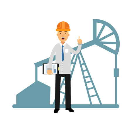 Engineer of oil industry character standing next to an oil rig drilling platform talking and showing hand