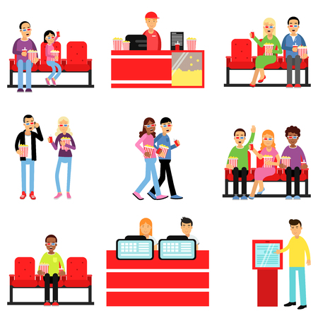 Happy people in the cinema or movie theatre set, man and woman buying tickets, popcorn, drinks colorful vector Illustrations