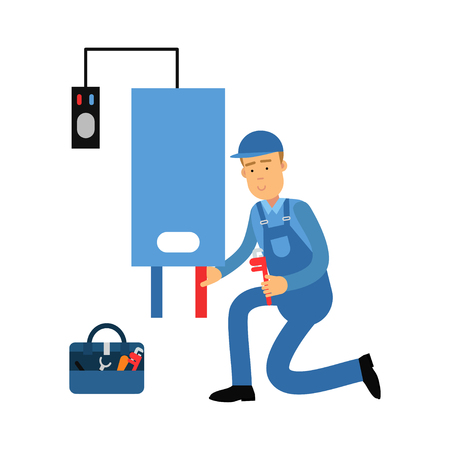 Proffesional plumber man character installing a water heater, plumbing service vector Illustration on a white background