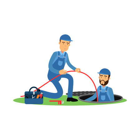 Proffesional plumber characters working at sewer manhole, plumbing service vector Illustration on a white background