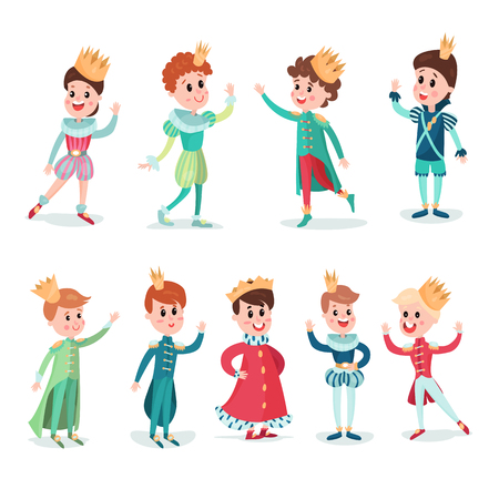 Little boys in prince costume with crown, cute cartoon characters set colorful vector Illustrations on a white background Illustration