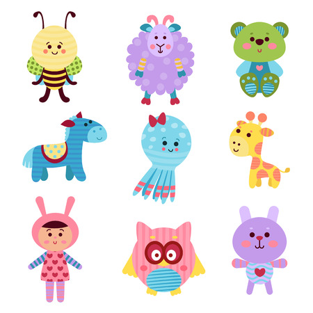 lapin: Cute cartoon baby toys and animals set of colorful vector Illustrations for baby clothes print, greeting and invitation cards, baby shower celebration