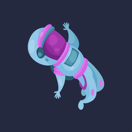 Spaceman character working in Space cartoon vector Illustration on a dark blue background