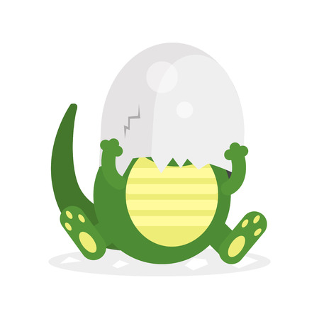 Cute newborn crocodile character, funny reptile in egg shell on his head cartoon vector Illustration Illustration
